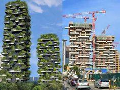 Construção do Bosco Verticale, o primeiro prédio a abrigar uma floresta vertical