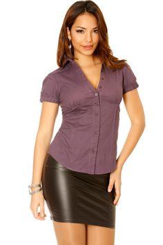Chemise violet manche court très tendance. Mode femme pas cher 916