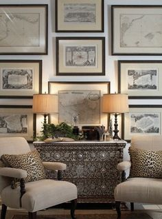 Home Decor Ideas These pictures below show simple ways to add interest to a room with framed art. In a grid pattern . . . I love this neoclassical style sofa from Restoration Hardware (Regency Coll...
