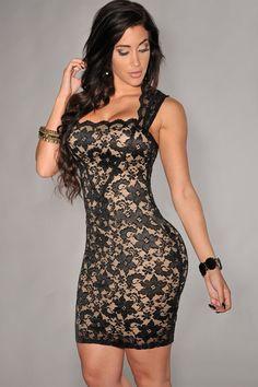 Black Lace Nude Illusion Dress Club Dresses 95879f40ca0b