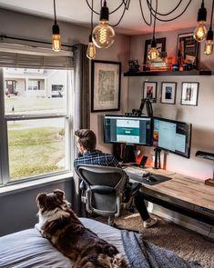 Home Office Setup, Home Office Space, Home Office Design, House Design, Computer Desk Setup, Gaming Room Setup, Pc Setup, Studio Room, Studio Setup