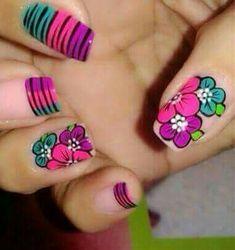 Flor y animal print Get Nails, Hair And Nails, Spring Nails, Summer Nails, Nail Designs Spring, Cute Nail Art, Fabulous Nails, Flower Nails, Manicure And Pedicure