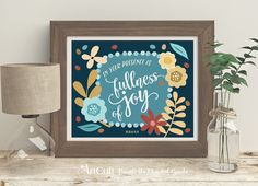 """Printable Artwork digital download Scripture Bible verse """"In thy presence is FULNESS OF JOY"""" typography art for home decor, ArtCult designs by ArtCult on Etsy"""