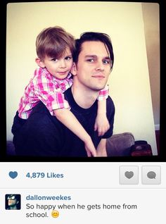 Found this on a board called hot emo guys. oh yeah that sums up dallon with his son. Dallon doesn't even know what emo is guys. Hot Emo Guys, Dallon Weekes, Carter Reynolds, Daddy Long, How To Play Drums, Band Memes, Panic! At The Disco, Big Sean, Emo Bands