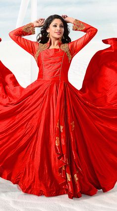 Trendy Red Art Silk Ready Made Indowestern Gown