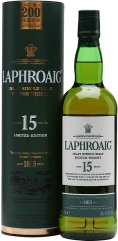 Crafted in the exact same fashion as it was 30 years ago, Laphroaig 15 Year Old Single Malt Scotch Whisky has an initial aroma of mint and grapefruit, as well as saltwater, peat smoke and apple orchards. On the palate, the whisky is dry and peppery, with touches of leather and tobacco leading to a mellow finish that's underpinned by subtle notes of peat, almonds and dates.