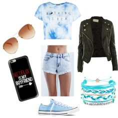 Blue  by regimeb on Polyvore featuring polyvore fashion style Bullhead Denim Co. Converse Domo Beads Tommy Hilfiger Casetify