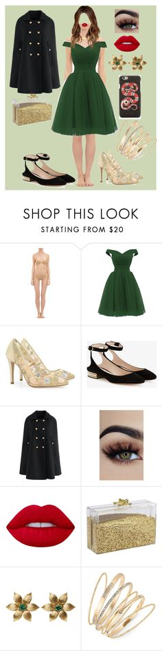 """gabi"" by coldprincess on Polyvore featuring moda, La Perla, Nicholas Kirkwood, Chicwish, Lime Crime, Thalia Sodi y Gucci"