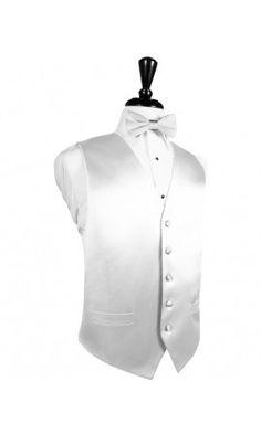 White Noble Silk Tuxedo Vest