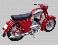 Jawa 100-250 ccm | Galerie.cz Vintage Bikes, Vintage Motorcycles, Cars And Motorcycles, Vintage Cars, Classic Motors, Classic Bikes, Classic Cars, Enfield Motorcycle, Red Motorcycle
