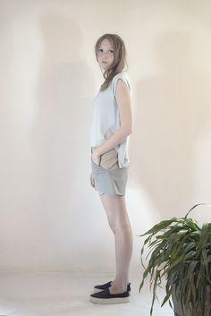 SAXUM color block short #PANTHEIST #FLUMENcollection #womenswear