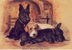 2 Scotties / Sealy - MATTED Dog Print - Lucy Dawson. Sweet!