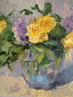 Violet and Yellow Flowers, oil on canvas,   20x15cm, 8x6in