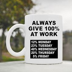 Always give 100% percent at work funny 11oz ceramic coffee mug cup JS Artworks http://www.amazon.com/dp/B00N0AGAO2/ref=cm_sw_r_pi_dp_Zageub040CVTM