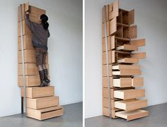 Another take on the bookcase that uses height and still remains accessible