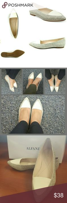 """🌟FLASH SALE ALFANI Pointed closed toe flats Beautiful Pointed closed toe Alfani flats. Color is salt/nougat, more like an ivory. Manmade upper & sole. 1/4"""" heel. These slip on flats will make any work outfit go from plain to fab in just seconds. Size is 8.5 but IMO these run a bit small so will fit an 8, toe box are is narrow. New with box. Alfani Shoes Flats & Loafers"""