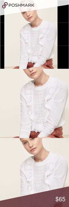 JCrew bib eyelet blouse top Alexa chung madewell PRODUCT DETAILS BY J CREW   Feminine and finished with a custom-made lace bib, this lighter summerweight cotton sweater is perfect for warmer weather.    Cotton.   Bracelet sleeves.   Rib trim at neck, cuffs and hem.   Machine wash.   Import.   Item G1290.    BRAND NEW. WAS PURCHASED DIRECTLY FROM J.CREW. THERE IS A SMALL MARK THROUGH J.CREW LOGO TO PREVENT STORE RETURNS. THIS SALE IS NOT AFFILIATED WITH JCREW. J. Crew Tops Blouses