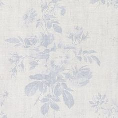Gorgeous faded powder blue large French floral design from Peony and Sage Perfect for a living room or bedroom especially as curtains 88 Linen 12