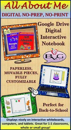 This is a comprehensive NO PREP, NO PRINT Google Drive Digital Interactive Notebook that is All About Me and perfect for Back to School. It includes full-color, high-resolution images that are fully interactive with drag and drop features, fill-in the blank (with answer choices provided), point and click, and simple to follow instructions on every slide.