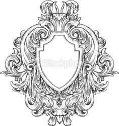Ornate Vintage Hand-drawn Heraldry Royalty Free Stock Vector Art Illustration