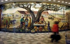 """""""The Future Belongs To Those Who Prepare for It""""  16 x 47 foot mural by New Mexico painter Peter Hurd  t's currently in storage, destined for a library under construction in Artesia, N.M."""