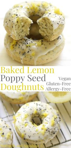 Sweet and zesty these easy Baked GlutenFree Lemon Poppy Seed Doughnuts are vegan allergyfree and topped with a simple sugarfree glaze A quick spring or summer citrus recipe for breakfast brunch or dessert One bowl and 12 minutes to baked donut perfection Donuts Vegan, Gluten Free Doughnuts, Healthy Donuts, Gluten Free Vegan Donut Recipe, Sugar Free Donuts, Paleo, Vegan Dessert Recipes, Vegan Sweets, Gluten Free Desserts