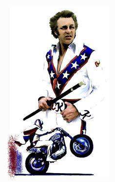 Watercolor Paintings, Original Paintings, Original Art, Evil Kenevil, Daredevil Costume, American Gladiators, American Legend, American History, Extraordinary People