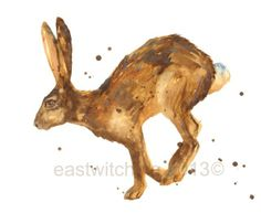 HARE Print landscape format watercolor hare hare by eastwitching Watercolor Animals, Watercolor Print, Watercolour Illustration, Hare Pictures, Bunny Painting, Animal Cushions, Wildlife Paintings, Art For Art Sake, Woodland Creatures