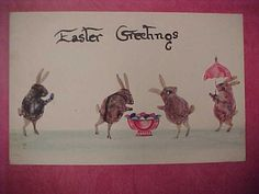 icollect247.com Online Vintage Antiques and Collectables - Macerated Stamp Easter Bunnies Postcard, 1910 Stamps-