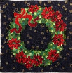 "Glimmer Christmas Wreath, ~46 x 46"", pattern by Shabby Fabrics, seen at Creative Quilt Kits"