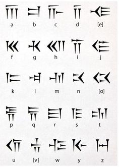 Cuneiform Alphabet: Cuneiform is a system of writing first developed by the ancient Sumerians of Mesopotamia c. Cuneiform Alphabet: Cuneiform is a system of writing first developed by the ancient Sumerians of Mesopotamia c. Alphabet Code, Sign Language Alphabet, Alphabet Symbols, Phonetic Alphabet, Tattoo Alphabet, Ancient Alphabets, Ancient Symbols, Viking Symbols, Egyptian Symbols
