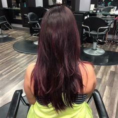 Brown to red ombre on long hair with long layers