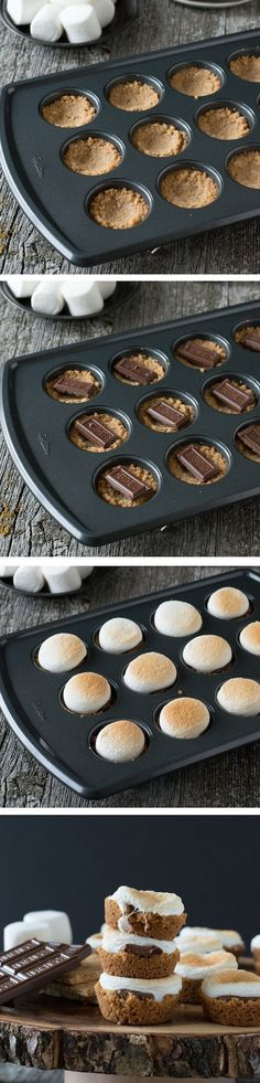 S'mores Bites - What a great idea for kids! a twist on the classic dessert, make these little S'mores Bites in the oven! Classic Desserts, Mini Desserts, Just Desserts, Delicious Desserts, Dessert Recipes, Yummy Food, Easy Cheap Desserts, Summer Desserts, Think Food