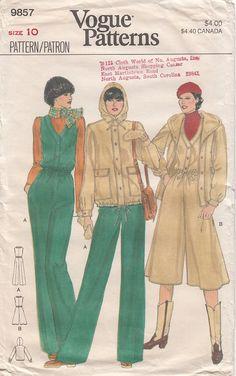 Vintage Vogue 9857 Split Skirt Jumpsuit Drawstring by CedarSewing
