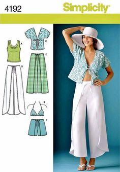 Wrap Pants Pattern, Wrap Shorts, Kimono Top, Knit Top, Bra Top, Simplicity Sewing Pattern 4192