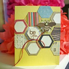 Creative hexy card. Just let your imagination run wild with hexagons to create beautiful cards.