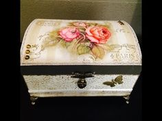 Bau Chic Completo By Livia Fiorelli - YouTube Decoupage Tutorial, Decoupage Box, Jewelry Box Makeover, Altered Boxes, Jewellery Boxes, Design Crafts, Trinket Boxes, Wooden Boxes, Painting On Wood