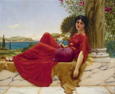 pieces jigsaw puzzle) Leaning against a column - painting by great artist John William Godward John William Godward, Classic Paintings, Old Paintings, Traditional Paintings, Traditional Art, Charles Edward, Academic Art, Pre Raphaelite, Classical Art
