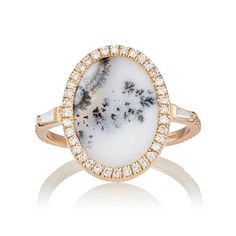 Monique Péan White Diamond & Dendritic Opal Ring: http://www.stylemepretty.com/2016/05/31/unique-nontraditional-engagement-ring/