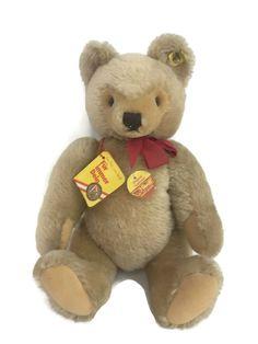 Made in Western Germany. Vintage Teddy Bears, Vintage Toys, Olaf Snowman, Bear Mask, Ear Tag, Steiff Teddy Bear, Novelty Items, Paper Tags, Plush