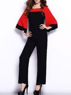 19aca4b0150f Color Block Bell Sleeve Round Neck Straight Jumpsuit