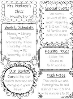 newsletter templates editable digital printable educational