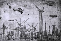 Thomas Pontone. Industrial Landscape with Flying War Machines.