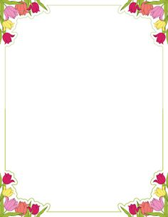 Printable tulip border. Free GIF, JPG, PDF, and PNG downloads at http://pageborders.org/download/tulip-border/