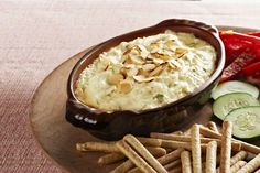 Have we got a Hot Crab Dip for you to try! Canned crabmeat, green onions and Swiss cheese are blended into cream cheese and MIRACLE WHIP for a delicious appetizer dip. Appetizer Dips, Yummy Appetizers, Appetizer Recipes, Holiday Appetizers, Party Appetizers, Kraft Recipes, Almond Dip Recipe, Crockpot Recipes, Cooking Recipes