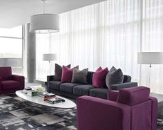 48 Cute Purple Living Room Design You Will Totally Love. The Living Room style and colour choices are inevitably dictated by size, use and environment and this particularly relevant when hot colours&n. Living Room Decor Colors, Living Room Furniture, Purple Living Room, Living Room Seating, Trendy Living Rooms, House Interior, Living Room Grey, Grey Furniture Living Room, Interior Design