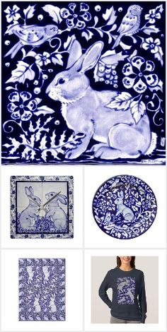 Blue & White Rabbit Artfully designed home decor products. These hand drawn designs are beautiful. Many are reminiscent of delft blue designs from long ago. Beautifully displayed on products for your home. Towels trivets and more. Blue And White China, Blue China, Red White Blue, Yellow, Pull Bleu Marine, Blue Dishes, White Rabbits, Blue Bunny, Rabbit Art