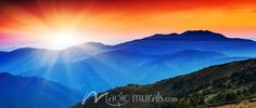 Mountain Sunrise Panorama, a wallpaper wall mural from Magic Murals. Please let us create a lovely, custom-sized, premium wall mural for your space. Self Adhesive Wallpaper, Wall Wallpaper, Sunrise Mountain, Purple Mountain Majesty, Contemporary Wallpaper, Mountain Paintings, Mosaic Projects, Wall Murals, Canvas Wall Art