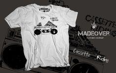 Madeover clothing - CASSETTE - pánské Madeover clothingtriko v s designem CASSETTE RIDING! Sítotiskem potisklé triko vytvořené pro všechny ridery a pamětníky kazet a kazeťáků! MADEOVER CLOTHING - APPAREL FOR DESTROY