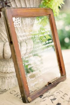 Write your dinner menu on vintage window panes. You can find these at thrift shops, yard sales and estate sales.